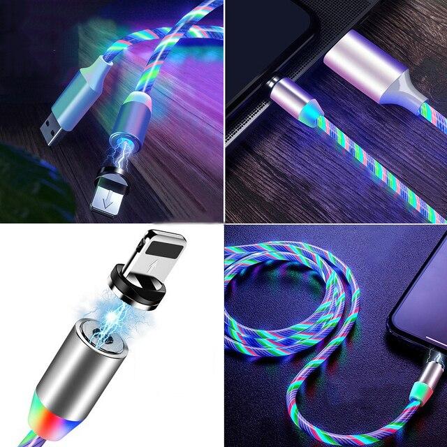 Câble magnétique lumière coloré pour iphone et samsung 4
