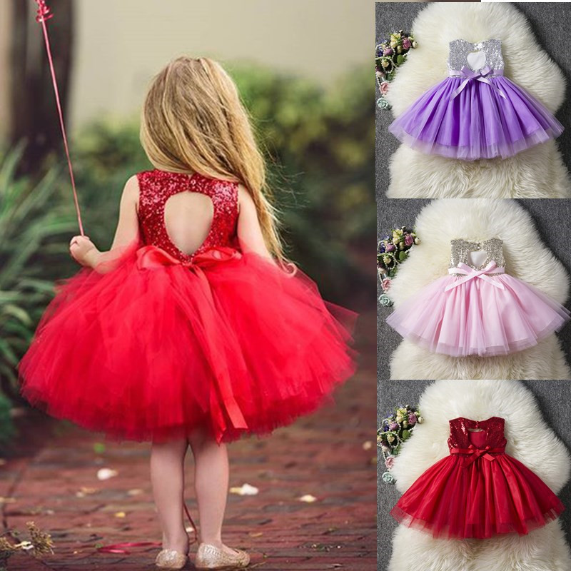 Party Dress Tutu Sequins Kids Clothes Backless Fancy Girl Baby Designs Princess Children