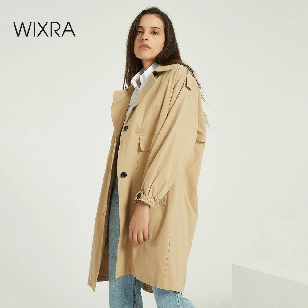 Wixra Women Casual Solid Classic Oversized Outwear Single Breasted Loose Coat Streetwear Long Trench Autumn Spring