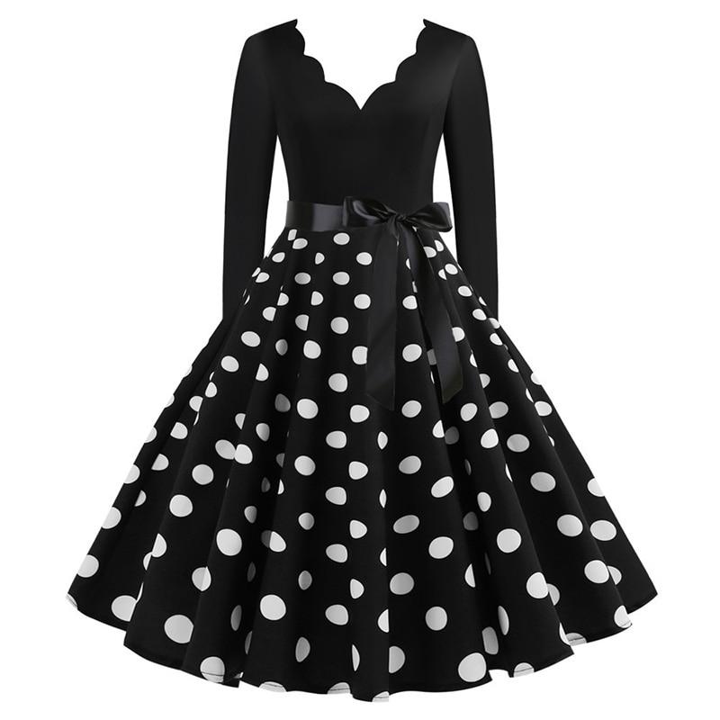Women Long Sleeve Winter Vintage Dresses Sexy Black Music Note Print V-neck Rockabilly Pin up Party Dress Vestidos Plus size 563