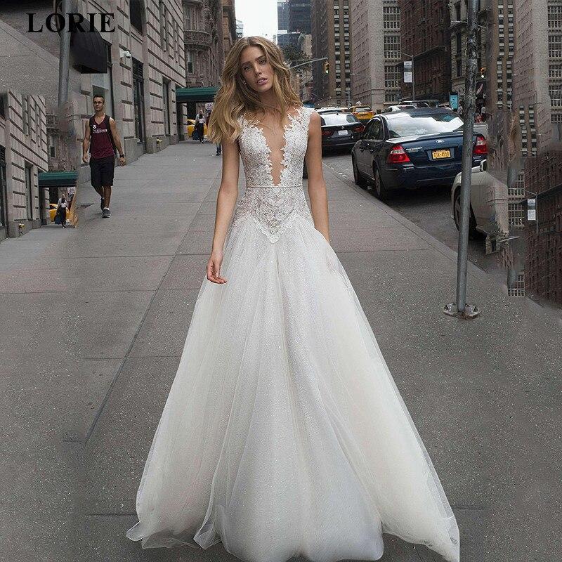 LORIE Beach Lace Wedding Dress V Neck Princess Appliques Vestido De Novia Backless Boho Bride Wedding Gowns