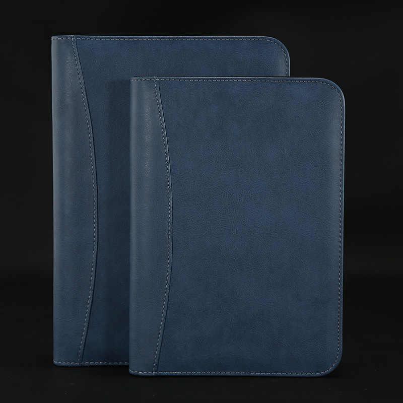 B5 a5 a6 caderno viajante de couro diário memorandos escrever pads pasta energia solar calculadora titular do cartão bloco de notas planejador negócios