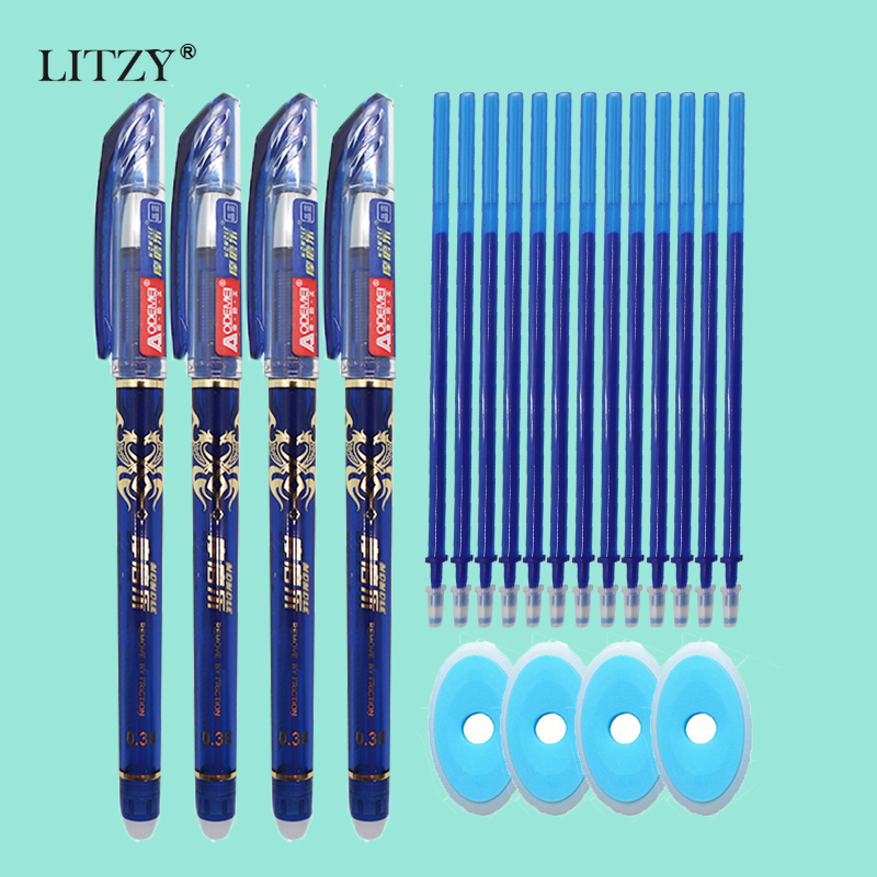 25Pcs/Set 0.38mm 0.5mm Blue Ink Gel Pen Erasable Refill Rod Erasable Pen Washable Handle School Writing Stationery Gel Ink Pen