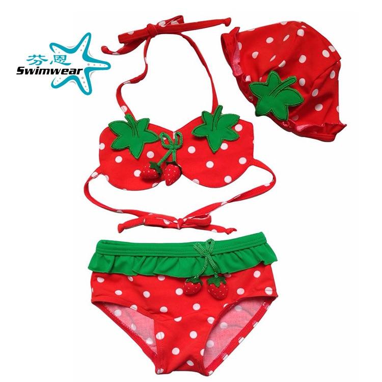 AliExpress Amazon Strawberry Bikini Hot Springs Girls Baby Split Type Swimwear BABY'S Bathing Suit With Cap
