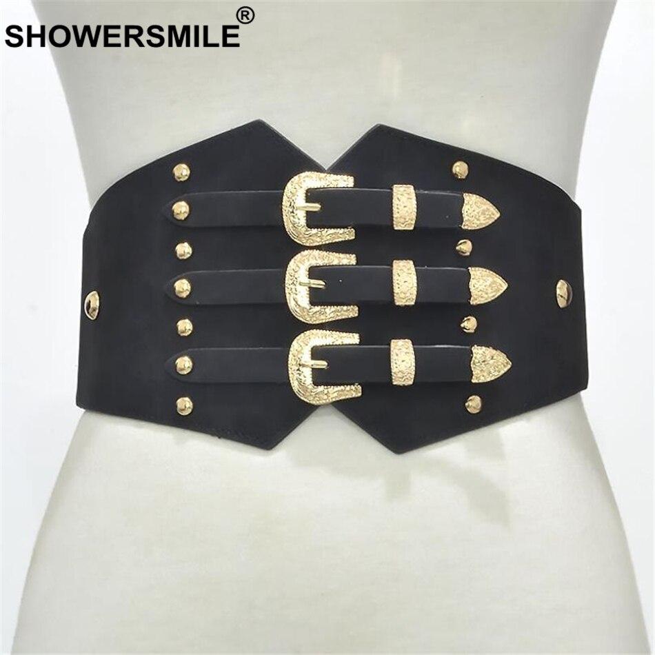 RAINIE SEAN Belts Cummerbunds PU Leather Elastic Corset Wide Belts For Dresses Black Vintage 2019 New Ladies Accessories Belts