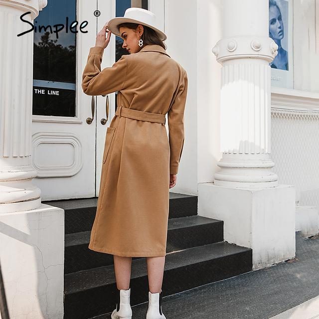 High street fashion long sleeve coat with belt