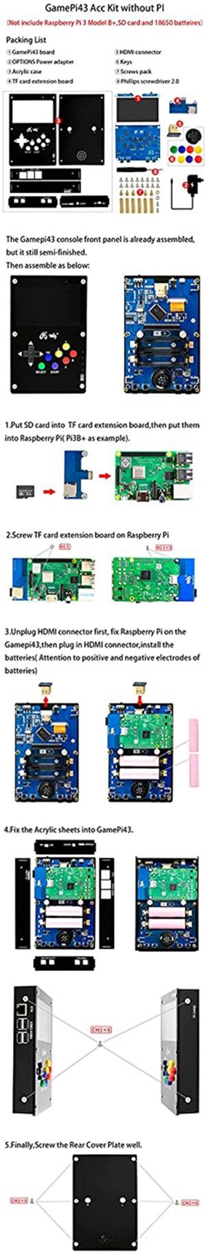 TOOGOO GamePi43 pour Console de Jeu RetroPie pour Raspberry Pi 3 B 800X480 /éCran IPS Plug UE