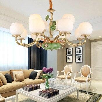 Modern Chandelier Lamps Lights Copper Lampshade LED Chandeliers Living Room Bedroom Dining Restaurant Hanging Light Lamps