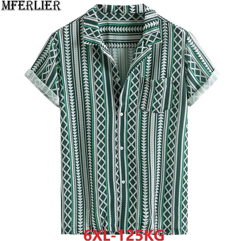 High Quality Summer Men Geometric Shirt Short Sleeve Striped Plus Size 6XL Print Shirt Pockets Cotton Shirt Loose 54 56 58 Green