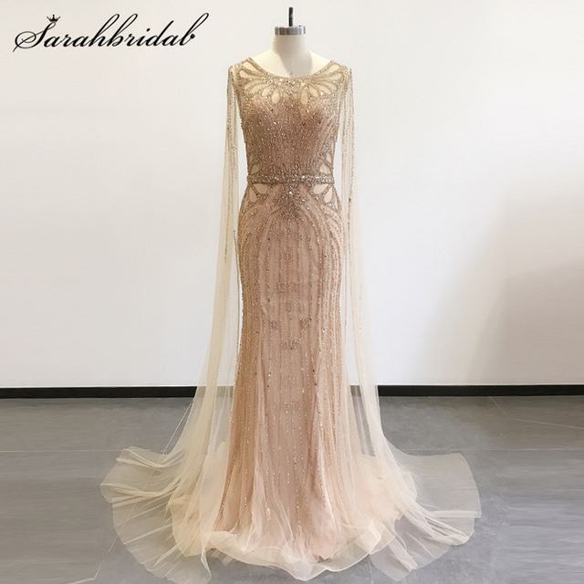 Elegant Formal Evening Gowns Long Sleeves 2020 New Arrival Mermaid Zipper Beaded Prom Party Celebrity Dresses with Train CC5740