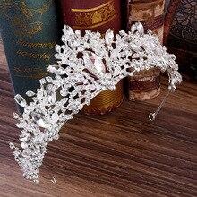 Luxury Crystal Baroque Crown Silver Princess Bridal Tiaras Crown Rhinestones Pageant Bride Crown Wedding Hair Accessories