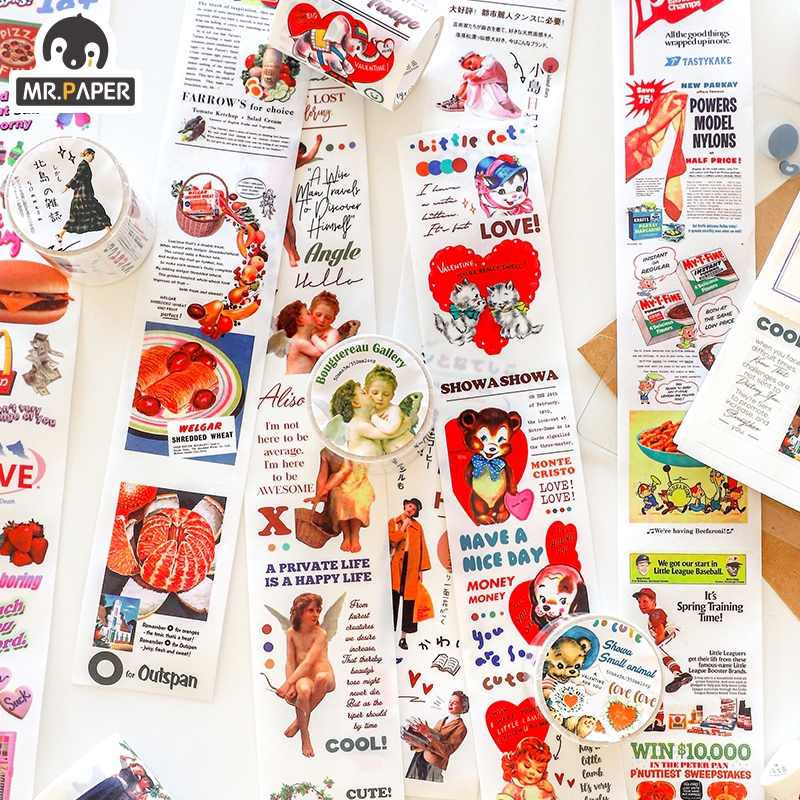 Mr.Paper 6 Designs Cool Interesting Ins Litmus Bullet Journaling Washi Tapes Deco Bullet Journal Tour Scrapbooking Masking Tapes