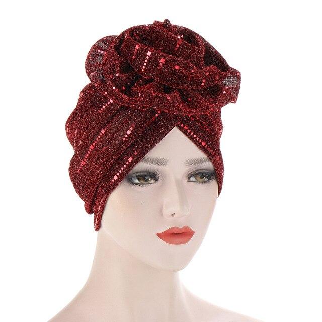 Шапка бини женская с блестками Модный яркий цветочный головной