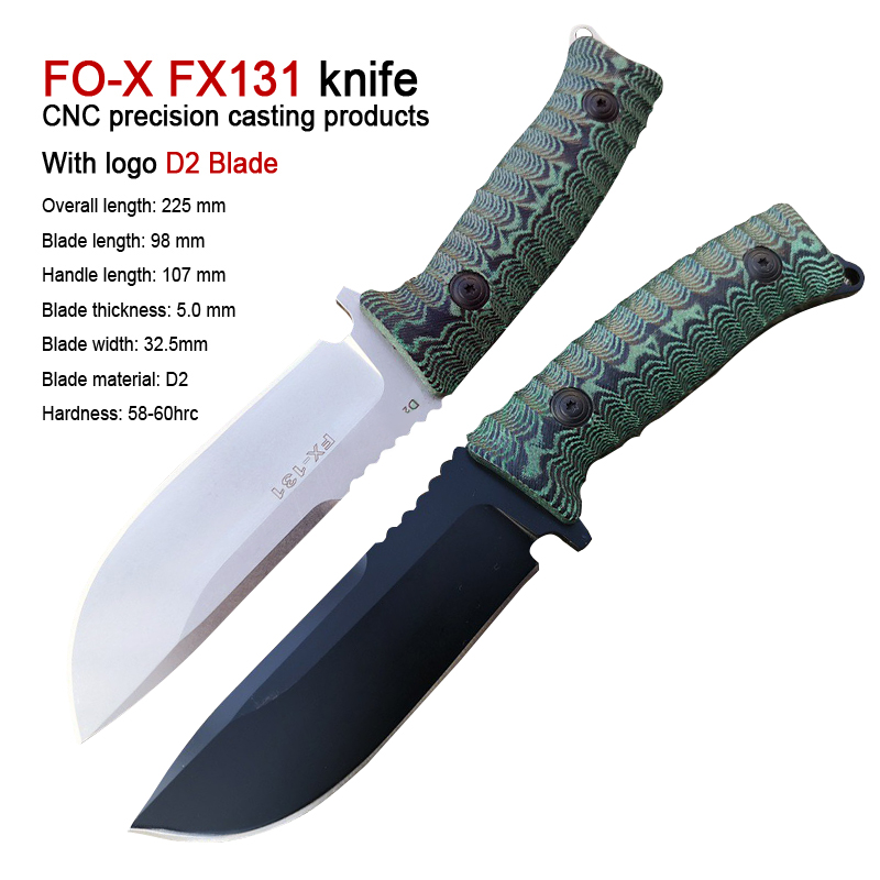 FX-131 Camping Survival Knife Outdoor Hunting Knives wilderness Knives 100% D2 Blade