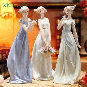 Western Woman Ceramic Ornaments Painted Figures Statues Bird Sculpture Desktop Crafts Wedding Gifts Home Decorations Accessories(China)