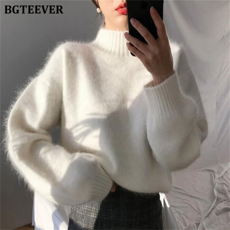 BGTEEVER Korean Stand Collar Women Sweaters Solid Female Soft Knitting Pullovers Ladies Loose Warm Tops Jumpers Winter 2019