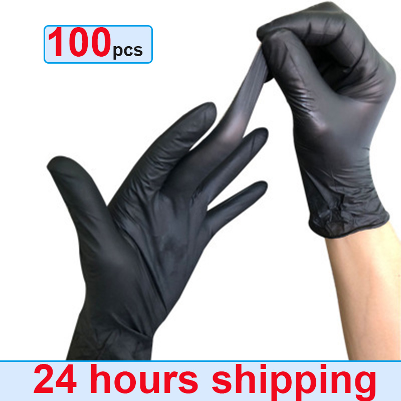 2/100pcs Mechanic Gloves Nitrile Gloves Household Cleaning Washing Black Laboratory Nail Art Anti-Static Gloves White Blue