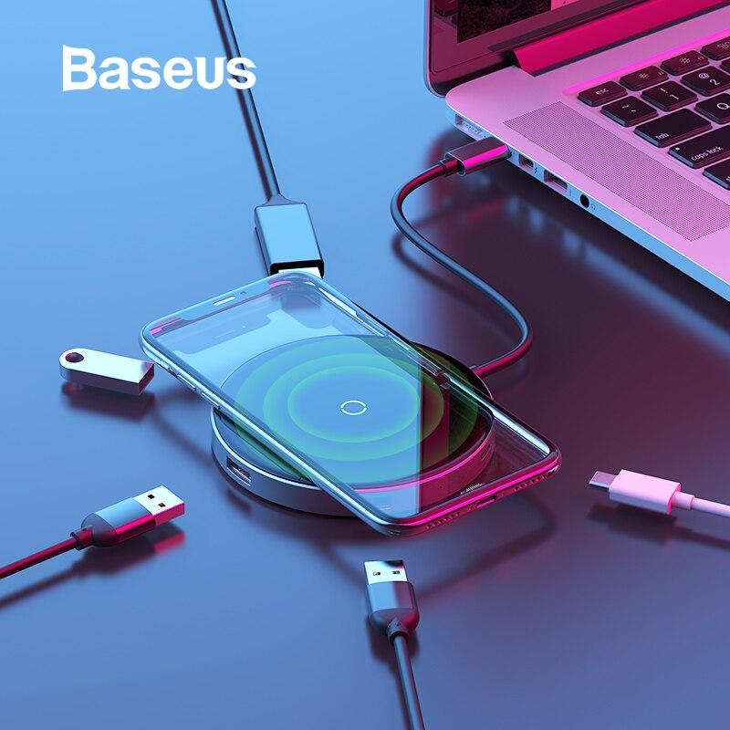 Baseus USB C HUB To USB 3.0 HUB HDMI Adapter QI Wireless Charger USB Splitter For MacBook Pro Accessories 6 Ports Type USB-C HUB