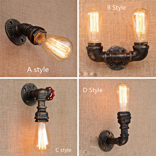 LED Loft Industrial Wall Lights iron Rust Water Pipe Retro Wall Lamp Vintage Sconce Living Room Bar Wall Light Bedroom Reading loft industiral retro wall lamp glass flower cover iron wall light hotel bar indoor two wooden wall mounted swing arm lights