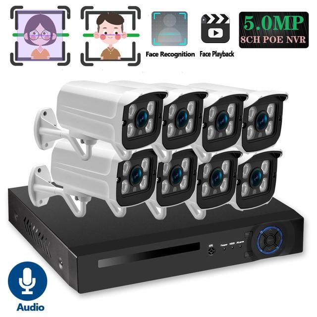 Gesicht Anerkennung H.265 + 8CH 5MP HD POE NVR Kit CCTV Sicherheit System 5MP AI IP Kamera Outdoor P2P Video überwachung Set 2TB HDD