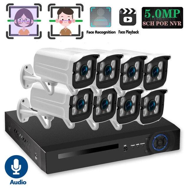 Nhận Dạng Khuôn Mặt H.265 + 8CH 5MP HD POE NVR Kit Camera Quan Sát Hệ Thống An Ninh 5MP AI Camera IP Ngoài Trời P2P Video giám Sát Bộ HDD 2TB