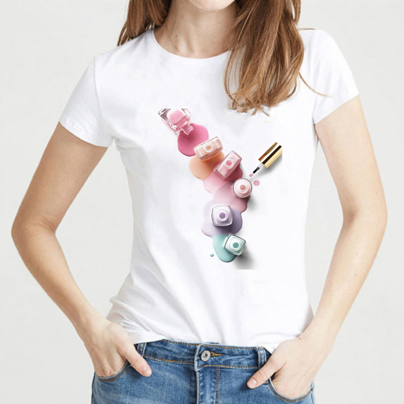 Vogue Funny T Shirts Women Watercolor Nail Polish Tshirt Femme Harajuku 90s Kawaii Top Female T-shirt