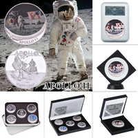 WR Apollo 11 50th Anniversary Silber Münzen Sammlerstücke mit Münze Halter UNS Herausforderung Münzen Medaille Collector Geschenk Dropshipping