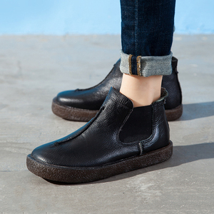 Image 2 - 2020 femmes angleterre Style flambant neuf femmes en cuir véritable bottes plates chaussures pour dame automne bottines hiver rétro Martin bottes