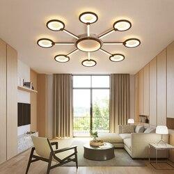 Nowe nowoczesne żyrandole ledowe sufitowa brązowa rama lustre led lampa do sypialni salon nowoczesny żyrandol lampara techo oprawy