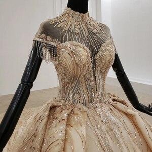 Image 4 - HTL1257 2020 ארוך שמלות הערב גבוה צוואר קצר שרוול ואגלי טאסל applique דובאי ערב שמלות платье на выпускной חדש