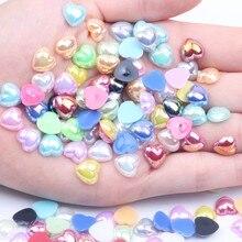 Pół perły Flatback imitacja serca żywiczne perły AB kolory wiele kolorów i rozmiarów klej na kartki ślubne księga gości biżuteria do paznokci