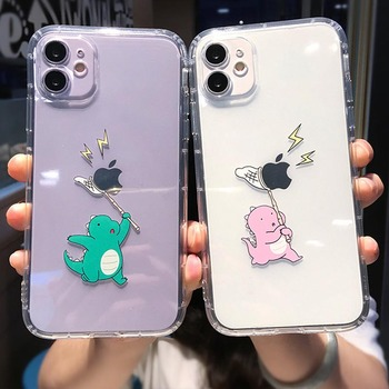 moskado Soft Silicone Shockproof Phone Cover For iPhone 11 Pro Max X XR XS Max 7 8 7Plus Cartoon Dinosaur Pattern Clear Cover image