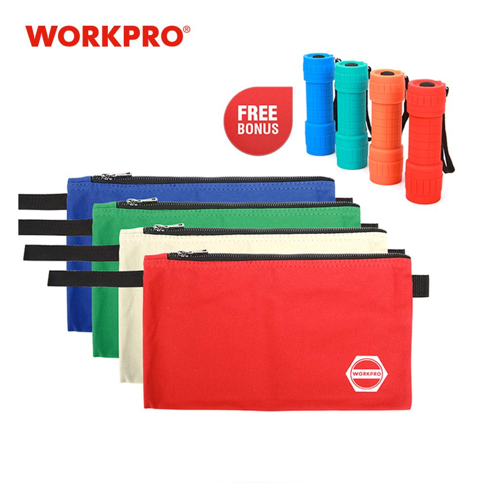 WORKPRO Canvas Tool Bags Storage Zipper Bags For Tools Stationery Bags Combo With 4pc Bonus LED Flashlight