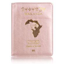 TRASSORY RFID Blocking Wakanda Forever Black Panther Marvels The Avengers Leather Travel Passport Cover Holder Bag Orgonizer