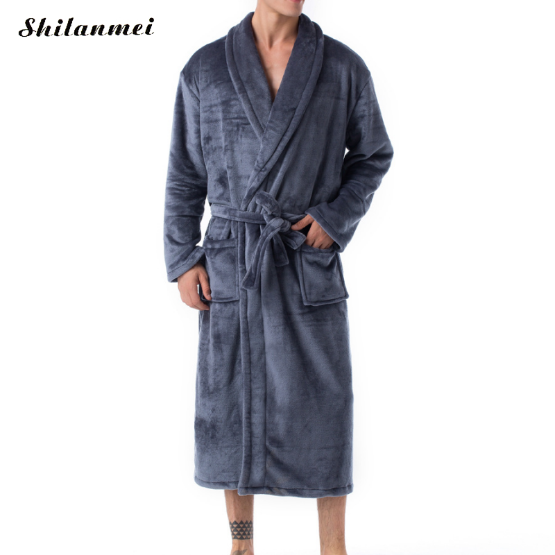 Casual Male Robe Mens Bathrobes Long Sleeve Turn And Down Collar Men Flannel Robe With Belt Plush Kimono Warm Male Bathrobe Coat
