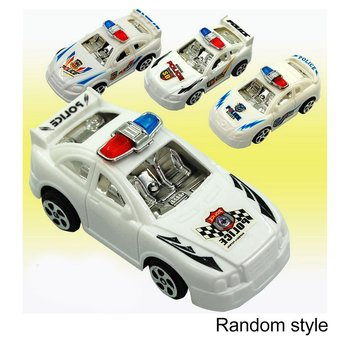Pull Back Car solid Color Plated Back Force Police Car Models image