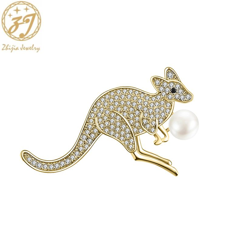 Zhijia delicate cute kangaroo design pearl pins brooches for women luxury crystal rhinestone gifts