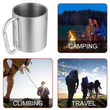Outdoor Food Degree Stainless Steel Water Tea Coffee Mug Self Lock Carabiner Handle Cup For Camping Travelling Climbing