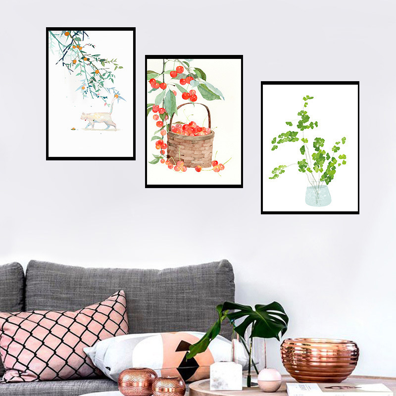 Europe And America-Modern Hipster Small Cherry Plant Art Paintings Bedroom Sofa Wall Living Room Decorative Paintings With Frame