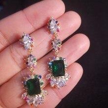 shiny green color zircon crystal earrings  stone  bohemian long  luxury drop earrings  jewelry  rhinestone  women earrings цена 2017