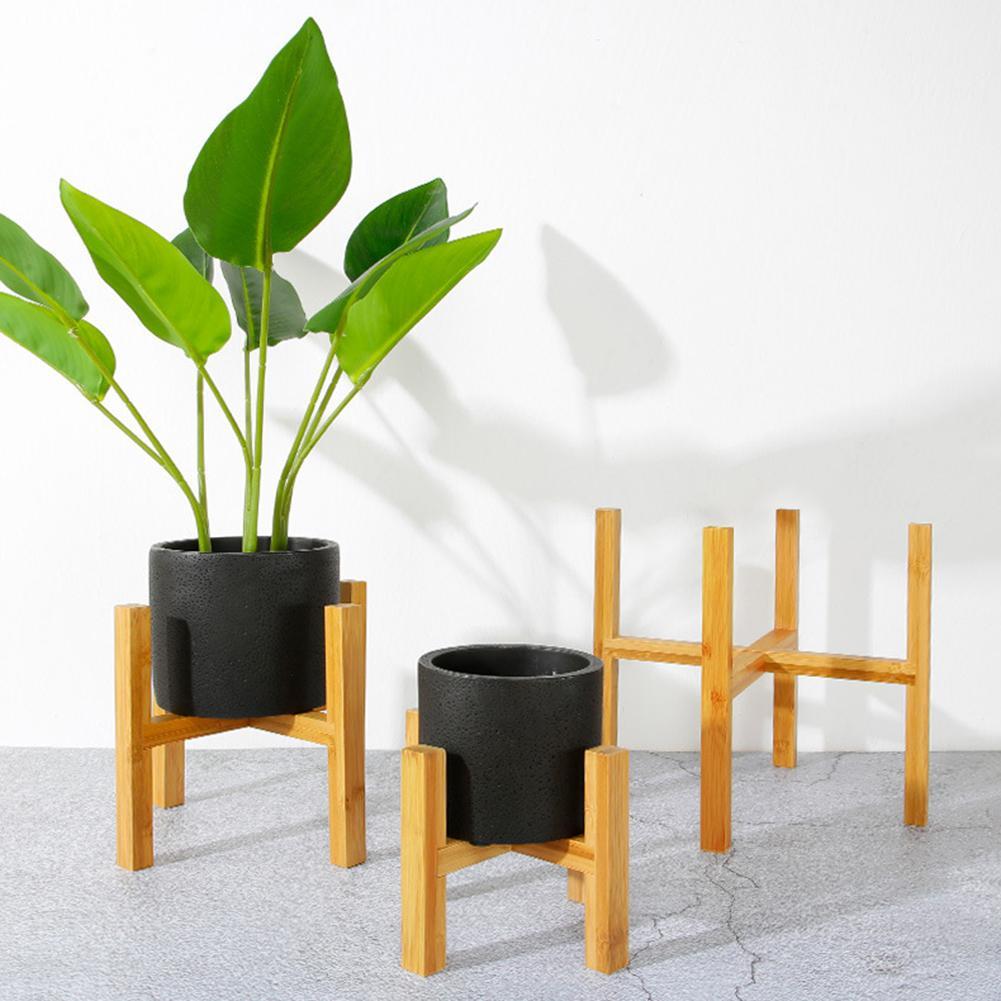 Durable Wood Planter Pot Trays Flower Pot Rack Strong Free Standing Bonsai Holder Home Garden Indoor Display Plant Stand Shelf