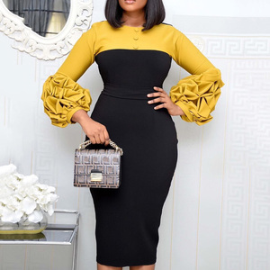 puff sleeve women patchwork dress autumn 2020 bodycon dresses elegant office lady work midi dresses femme vestiods plus size 4xl(China)