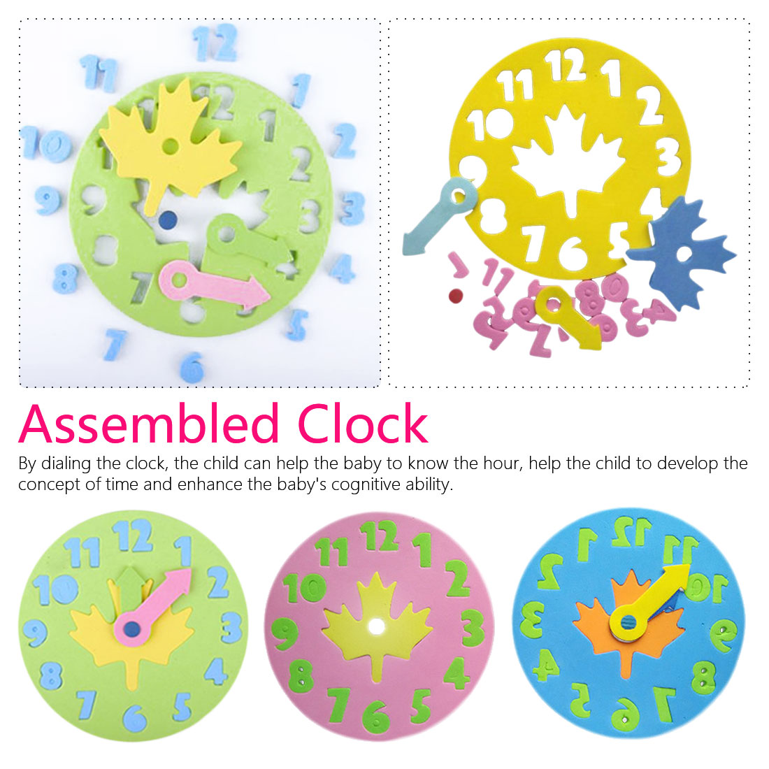 Kids DIY Eva Clock Learning Education 1Piece Fashion Toddler Lacing Shoes  Kids Wooden Toys Children Toys