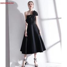 Вечер платье 2020 черный чай длина атлас с бантом складки без бретелек линия элегантный случай платья для женщин коктейль платье