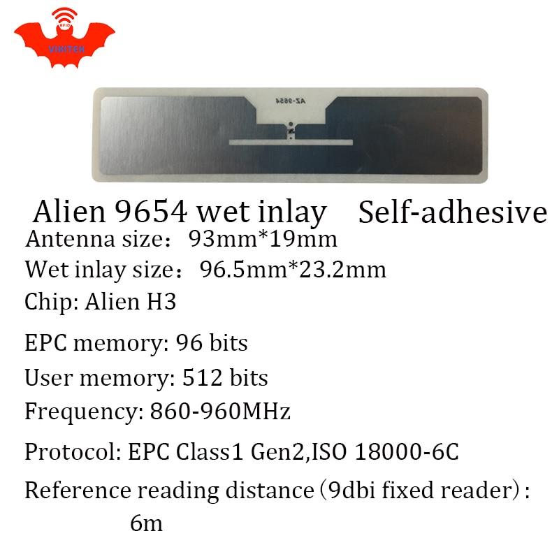 Купить с кэшбэком UHF RFID tag sticker Alien 9654 EPC6C wet inlay 915mhz868mhz860-960MHZ Higgs3 1000pcs free shipping adhesive passive RFID label