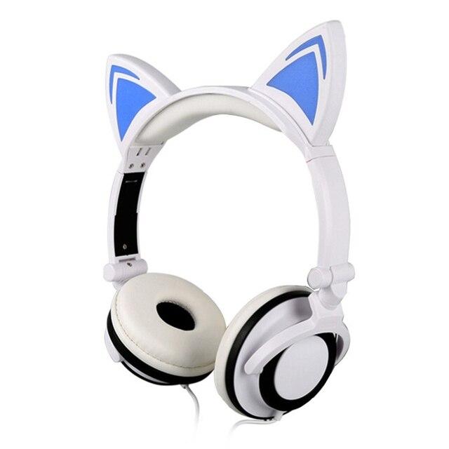 UKLLYY Cat Ear Headphones LED Ear Headphone Cat Earphone Flashing Glowing Headset Gaming Earphones for Adult and Children