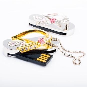 Jewelry 32GB 64GB Crystal Shoes Necklace Gift 8GB 16GB USB Stick Pendrives Flash Drive USB 2TB Memory Card Disk On Key 1TB 2.0