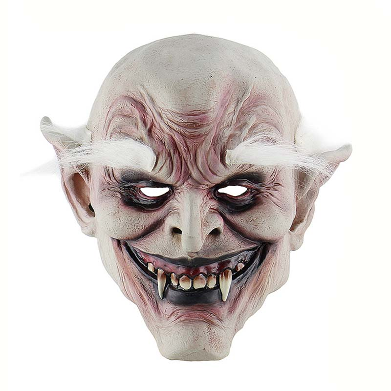 Unisex Halloween Terror Mask With White Hair Bugbear Latex Terrifying Cosplay Mask Party Costume For Halloween Party Make Up