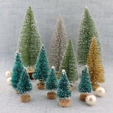 Маленькая декоративная Рождественская елка из сизаля, шелковая башня, Сосновая Мини Рождественская елка, украшения для рабочего стола
