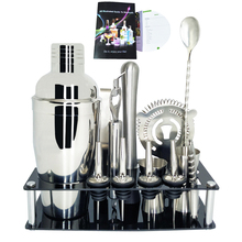 AREYOUCAN Cocktail Shaker Set Stainless Steel 1-13 Piece Professional Bar Tool Kit with Rack Stand and Cocktails recipe book